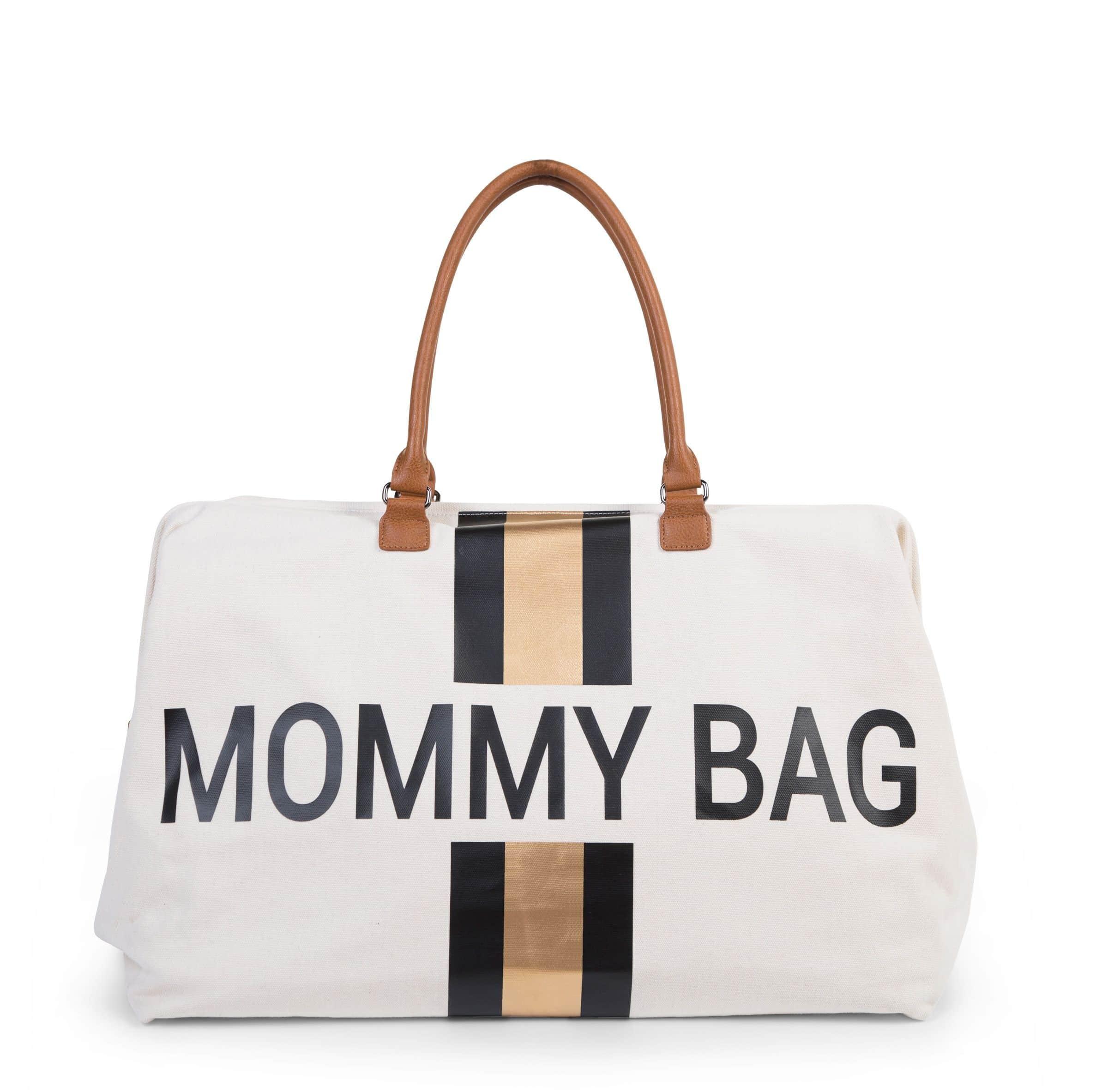 Mommy Bag Ecru Rayures Noir/Or